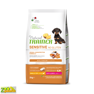 Сухой корм для щенков с лососем Natural Trainer Dog Sensitive  SMALL&TOY  PUPPY&JUNIOR WITH SALMON AND WHOLE CEREALS