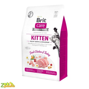 Сухой корм для котят Brit Care Cat GF Kitten HGrowth & Development курица и индейка